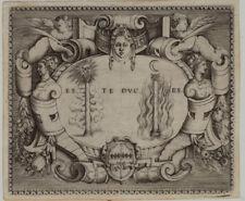 SONNE + MOND Feuer RENAISSANCE Original Kupferstich 1560 Rollwerk Beschlagwerk