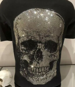 Skull Hotfix Rhinestone Iron-On T Shirt Hoodie Patch Transfer Only SEE VIDEO