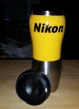 Nikon 14 oz Travel Mug/Cup Black Lid Yellow Body & Stainless Steel 8 1/2 x 2 1/2