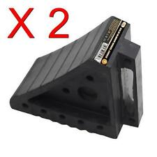LOT OF 2 NEW SOLID RUBBER WHEEL CHOCK CHOCKS WEDGE TIRE BLOCK SAFETY CHOCK