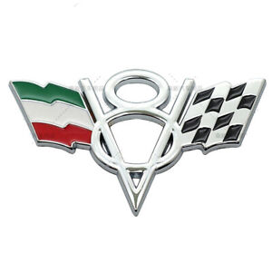 V8 Italy IT Grille Grill Emblem Chrome Metal Front Badge For Lamborghini Bugatti