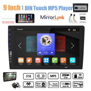 "9""1DIN Touch Screen Car Radio+Camera Bluetooth Stereo Mirror Link  MP5 Player FM"