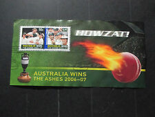 2--  2007--HOWZAT  -AUST;WINS  ASHES-MINI  SHEET   USED  IST DAY  CANCELLATION