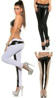 sexy Damenhose Hose * Gr. S-XL (mit Leder-Look) Skinny Pant Push Up Treggings