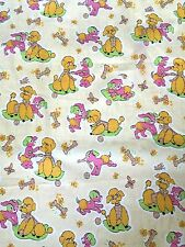 French Poodle Puppy Dog Fabric Indian Head Mills Rare Vtg 50s Children's Cotton