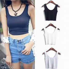 Women's Base Vest Sleeveless Cotton Short U Crop Tops Tube Top Fitness Tank Tops