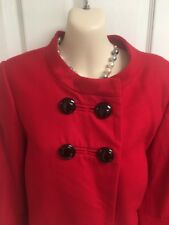 Ann Taylor Loft Red Wool Coat Cardigan Light Jacket Cropped Flared Size Small