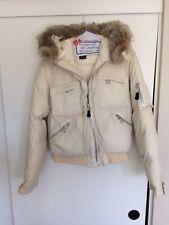 Ralph Lauren Down Bomber Jacket Coyote Fur Trimmed Hood Size Ladies Medium