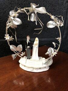 Vintage Chalkware Wedding Cake Topper Bride Groom Plaster 1930s? Retro Kitsch