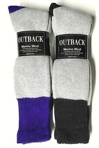 Men's Gray w/Black & Purple Out Door Thermal Merino Wool Boot Sock Size 10-13.