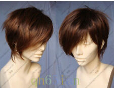 Beaux hommes court brune perruquewig+hairnet