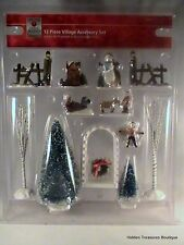 Home Accents 12 PC Christmas Village Accessory Set NEW