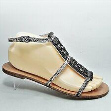 Elie Tahari Womens Snake Print Rhinestones Ankle Strap Sandals Size US 8 - EU 38