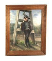 Antique Oil Painting on Canvas of Young Boy Rascal Scene