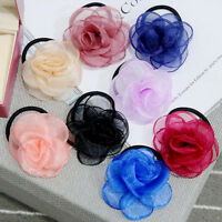 Women Ribbon Satin Pearl Solid Rose Flower Hairband Hair Band Ponytail Holder
