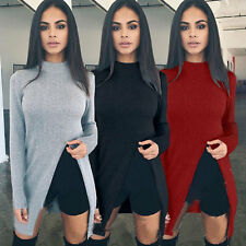 Xmas Fashion Womens Knitted Sweater Long Sleeve Pullover Mini Jumper Dress #D