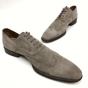 @@ Magnanni Limited Edition Grey Suede Oxfords Men US 13 Minimal Wear In Spain