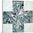 ARTCANVAS Modern Teal Cross Zebra in a Forest Canvas Art Print
