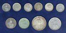 SWITZERLAND   1907, 1912, 1920,.. 1/2, 1, 2, & 5 FRANCS COINS, GROUP LOT OF (10)