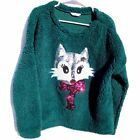 ugly Christmas Sweater green Sherpa sequins Fox XL womens ladies