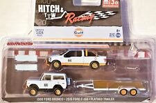 GREENLIGHT MIJO EXCLUSIVE 1966 FORD BRONCO.2015 FORD F-150.FLATBED TRAILER