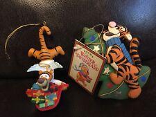 2 Disney Store/Grolier Winnie The Pooh TIGGER Christmas Tree Ornaments Lot