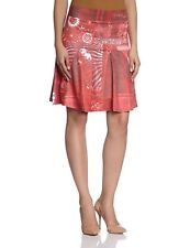 Desigual Nathalie Flared Skirt XS-XL 8-16 RRP£89 Jersey Red Pink Pretty Printed