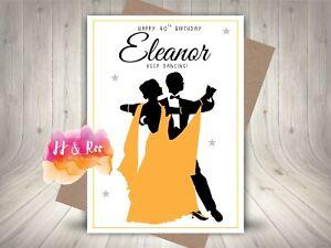 Personalised Ballroom Dancing Couple Birthday Card: 40th 50th 60th 70th Handmade