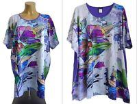 NEU Übergröße schickes Damen Stretch Kurzarm Shirt lila bunt Gr.60,64