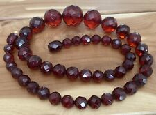 Vintage Baltic Amber Necklace Natural Dark Cognac Faceted Amber Beads 20.58 Gr