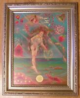 VINTAGE MERMAID WATERMELON STRAWBERRY BOTANICAL DOLPHINS GARDEN OCEAN PAINTING