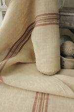 Vintage Linen homespun fabric upholstery material grain sack 7.2 Rare brown bolt