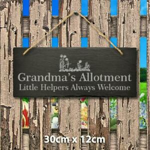 Personalised Name Engraved Slate Hanging Sign Allotment Garden Shed Greenhouse