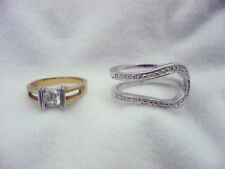 Lot 2 Avon? rings gold with silver bars rhinestone & silver horseshoe shape