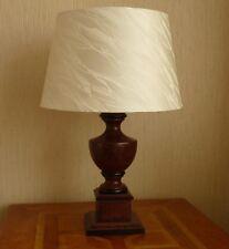 TABLE LAMP DARK WOOD CREAM ICEBERG SHADE