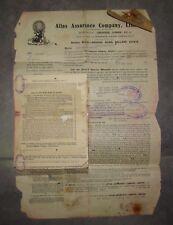 RARE Atlas Assurance Company Iran Persia To Palestine Policy 1935 WW2 Bank Stamp