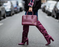 ZARA BURGUNDY SATIN OVER THE KNEE HIGH HEEL BOOTS UK 4 US 6 EUR 37 SOLD OUT