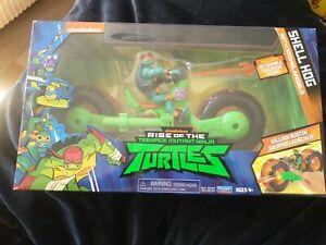 Rise of Teenage Mutant Ninja Turtles Shell Hog Vehicle Michelangelo Figure -New