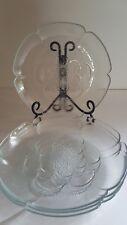 Set Of 4 CLEAR PRESSED GLASS JAGGED EDGES FLOWER SHAPE PLATES. NICE vintage?