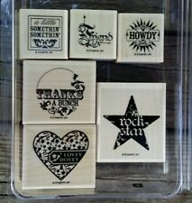Stampin' Up A LITTLE SOMETHIN' Set 6 Wood Mounted Rubber Stamps Lot heart friend