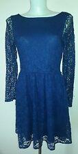 Oasis indigo navy dark blue navy lace evening Christmas  party dress with belt