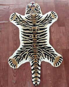 Tibetan Tiger Skin Rug 2x3 feet Creative Pattern Carpet for Living Room