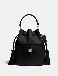 NWT COACH 651 Lora Bucket Bag With Whipstitch Detail ~ Black/Gold
