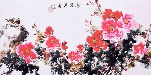 ORIENTAL FAMOUS ASIAN FINE ART CHINESE FLORAL WATERCOLOR PAINTING-Peony flowers