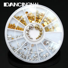 6 Size Gold & Silver Acrylic Nail Art Tips Round Gems 3D Decoration + Wheel DIY