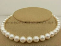 """Beautiful  HOT AAA+ 9-10MMTruly SOUTH SEA WHITE PEARL NECKLACE 18"""" 14k"""