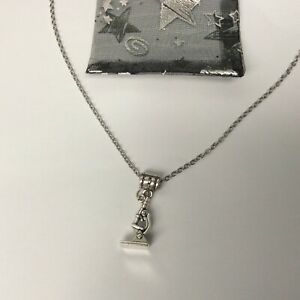 Microscope Charm Necklace Silver Plated pendant and chain with gift bag science