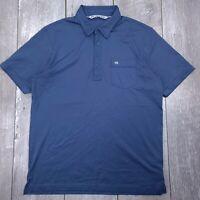 Travis Mathew Golf Polo Shirt Mens Large Blue Performance Short Sleeve P121