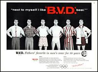 1956 Men in underwear BVD men's wear shorts shirts vintage art Print Ad  adl31