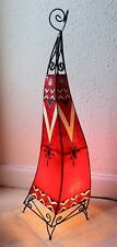 Painted Moroccan Henna Floor Lamp-  Square- Red  100CM